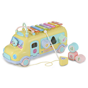 1022 - 9 Baby School Bus Toy Music Car with Percussion Piano Matching Blocks