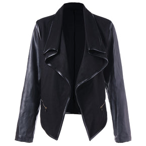 Open Front PU Leather Panel Jacket