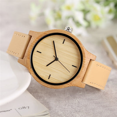 NEUTRALBLU BAMBOO WOOD LEATHER STRAP WRISTWATCH  - NeutralBlu Genderless Gender Neutral Fashion Clothing Line Androgynous Clothing Unisex