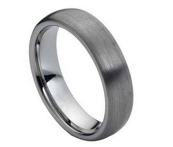 Tungsten 6mm Brushed/Domed Ring with Polished Inner
