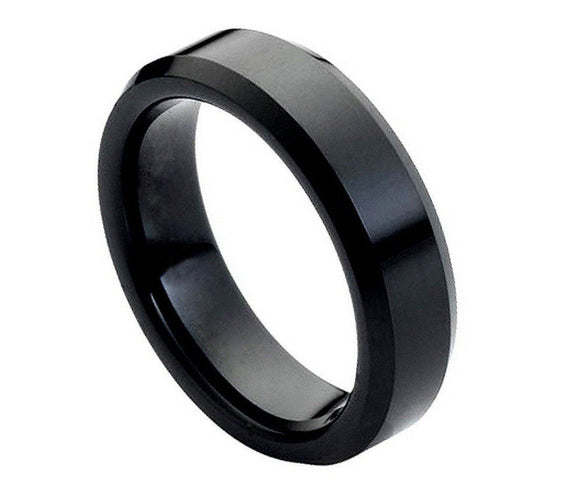 Tungsten 6mm Flat Cut Black Ion Plated and Polished with Beveled Edges