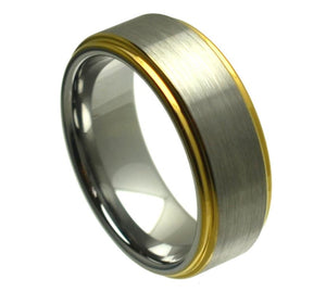 Tungsten 8mm Brushed/Stepped Center with Yellow Gold Ion Plated Edges
