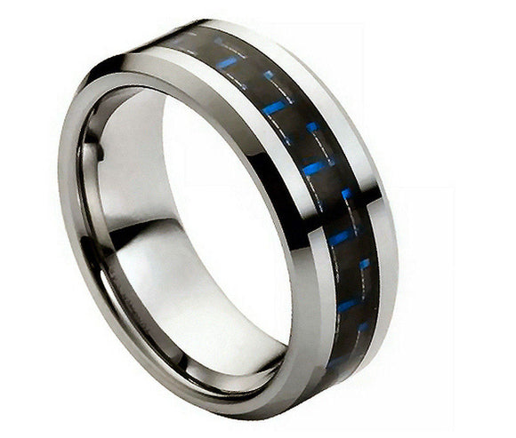 Tungsten 8mm High Polished with Blue Carbon Fiber Inlay and Beveled Edges