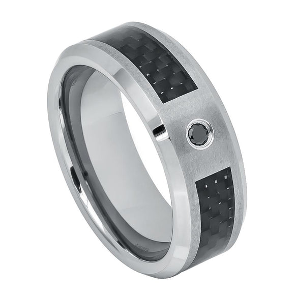 Black Carbon Fiber Inlay Tungsten Wedding Ring with Black Diamonds