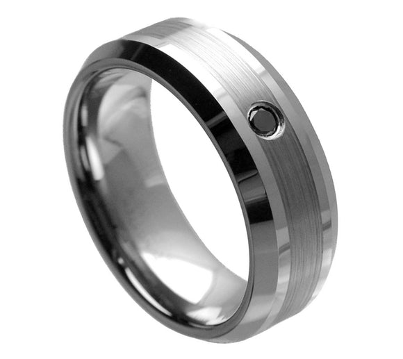 Brushed Tungsten with Black Diamonds