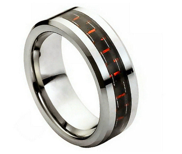Tungsten 8mm Black and Red Carbon Fiber Inlay with High Polished Inner and Beveled Edges