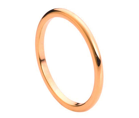 Tungsten 2mm Rose Gold Ion Plated and Polished Band