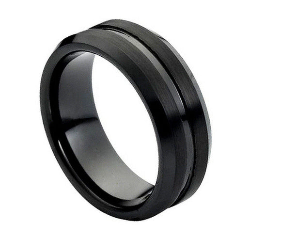 Tungsten 8mm Black Ion Plated Brushed with Grooved/Polished Center and Beveled Edges