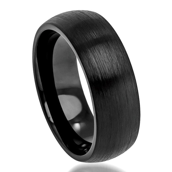 Tungsten 8mm Black Ion Plated Classic Domed Band