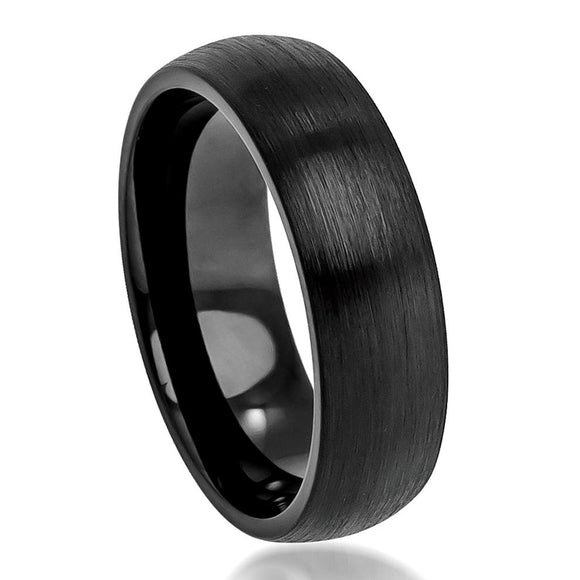 Tungsten 6mm Brushed Black Ion Plated Domed Ring
