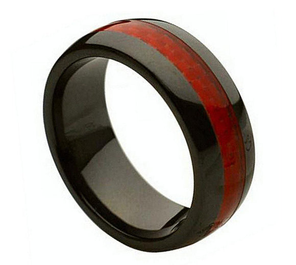 Black Ceramic Ring with Red Carbon Fiber Inlay