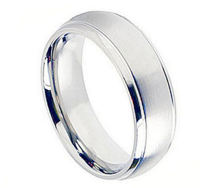 Cobalt 8mm Brushed Center with Polished/Grooved Edges