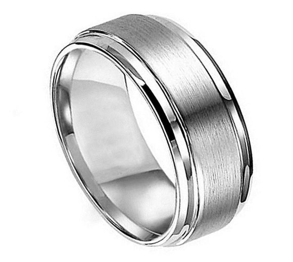 Titanium 8mm Flat Brushed Center Ring with Polished Stepped Edges