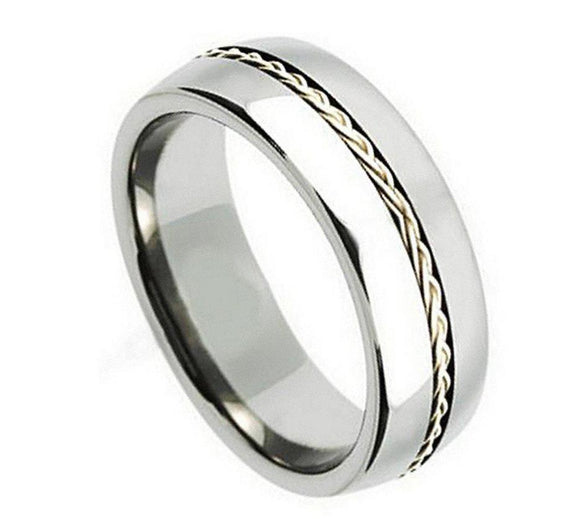 Titanium 8mm Polished with Braided Sterling Silver Inlay