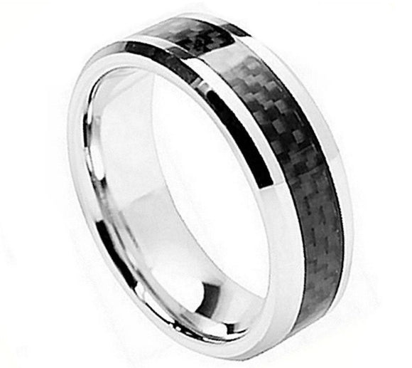 Cobalt 8mm High Polished with Black Carbon Fiber Inlay and Beveled Edges
