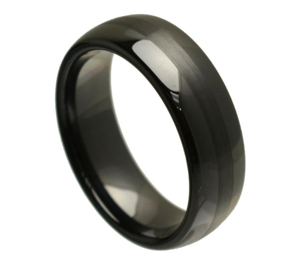 Black Ceramic Ring with Brushed Center