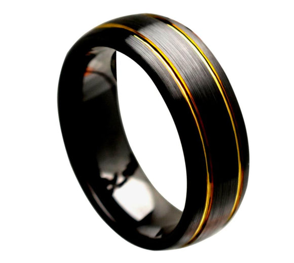 Brushed Black Ceramic wedding ring band with Gold Pinstripes