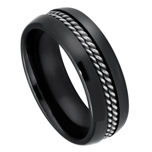Black Ceramic Wedding Ring Double Rope Stainless Steel Inlay