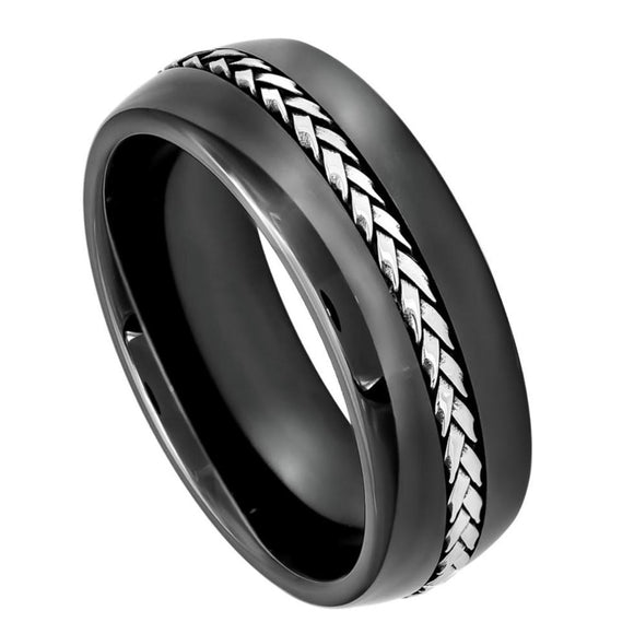 Black Ceramic Ring with Braided Stainless Steel Inlay - 8mm
