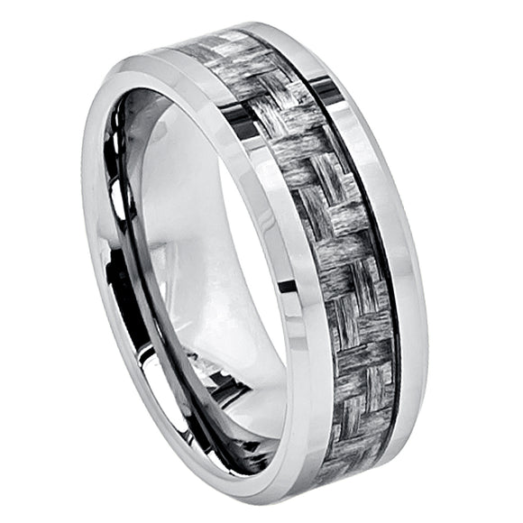 Tungsten 8mm Polished with Grey Carbon Fiber Weave Inlay and Beveled Edges