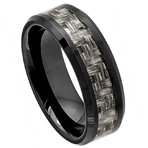 Black Ceramic Ring with Charcoal Grey Carbon Fiber Inlay