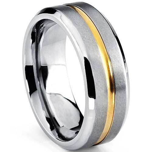 Titanium 8mm Two Tone Grooved/Brushed Center with Beveled Edges