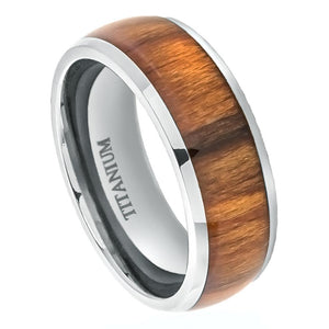 Titanium 8mm Polished Domed Ring with Rosewood Inlay