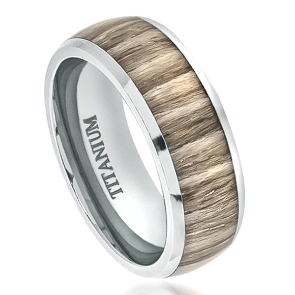 Titanium 8mm High Polished Dome Wedding Promise Ring with Ashen Zebra Rosewood Inlay