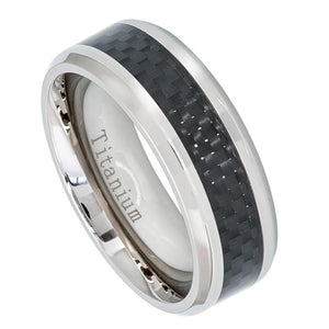 Titanium 8mm Beveled Edge Ring with Black Carbon Fiber Inlay