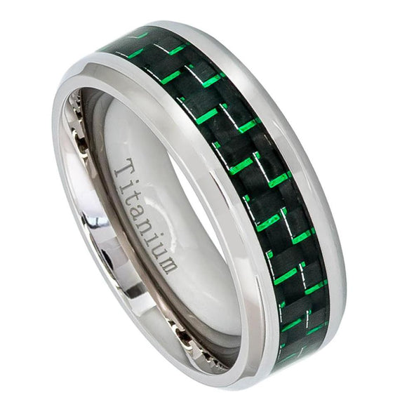 Titanium 8mm RIng with Green Carbon Fiber Inlay and Beveled Edges