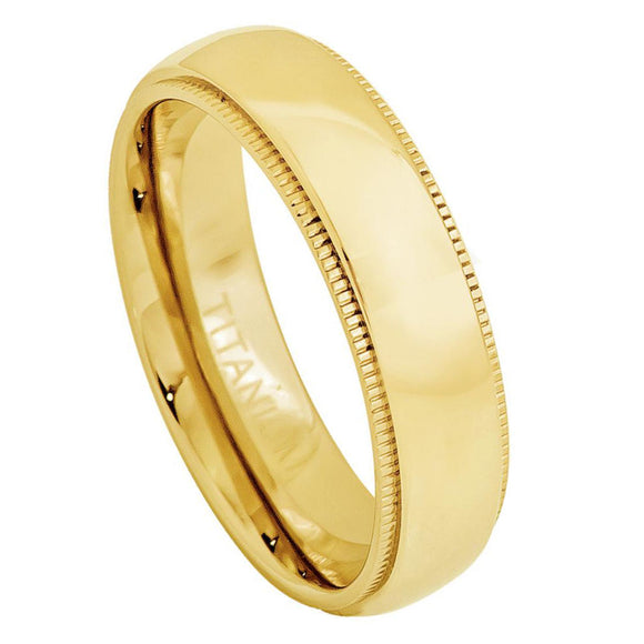 Titanium 5mm Yellow Gold Ion Plated Ring with Milgrain