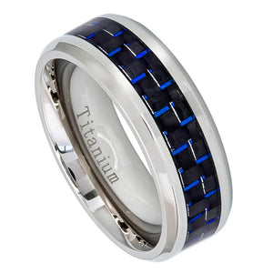 Titanium 8mm Polished Beveled Edge Ring with Blue Carbon Fiber Inlay