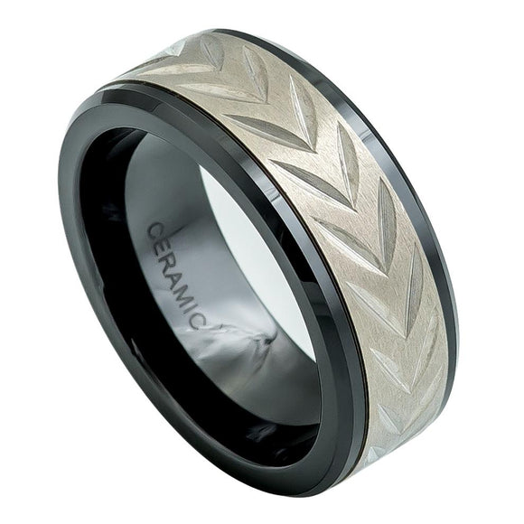 Black Ceramic Ring with Titanium Inlay Arrowhead Ring Wedding Band