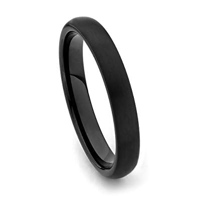 Tungsten 4mm Black Ion Plated Dome Band