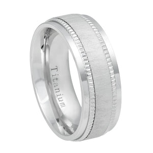 Titanium 8mm Stepped Edge Ring with Satin Finish Center and Milgrain