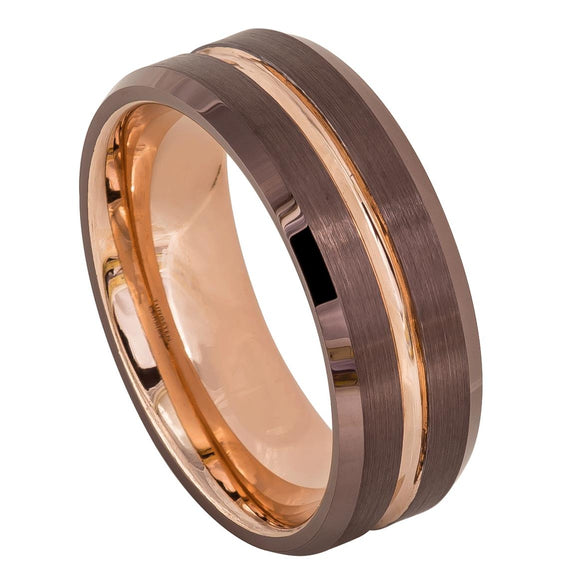 Tungsten 8mm Brown Ion Plated Outside With Rose Gold Ion Plated Grooved Center & Inner