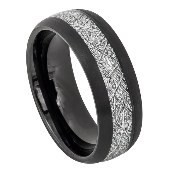 Tungsten 8mm Semi Domed Black Ion Plated with Space Rock look Inlay