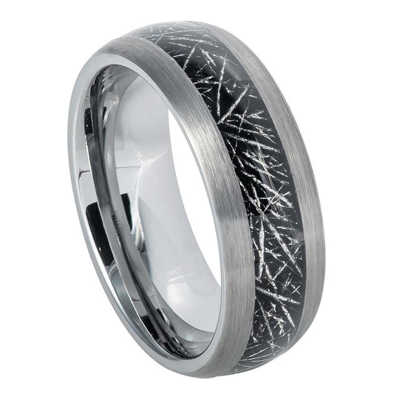 Tungsten 8mm Semi Domed Ring with Space Rock look Inlay and Brushed Edges
