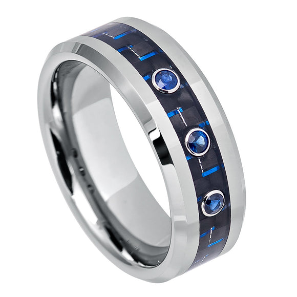 Three 3 Stone Tungsten Ring Blue Sapphire Tungsten Ring