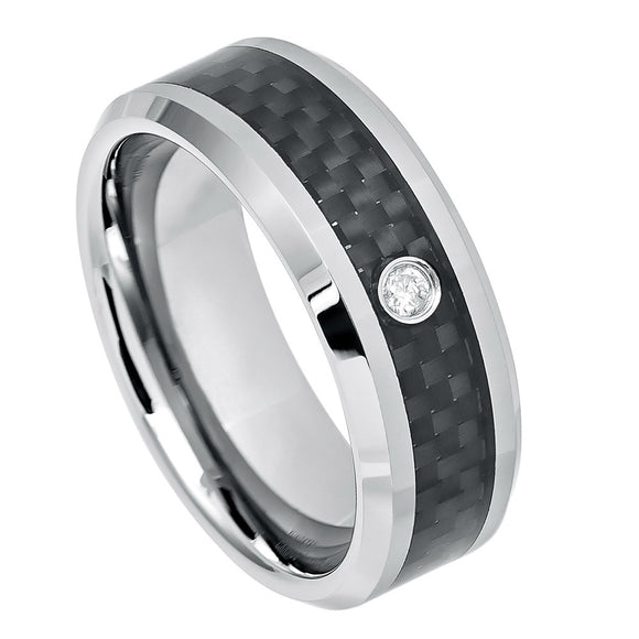 Black Carbon Fiber Inlay Tungsten Diamond Wedding Ring
