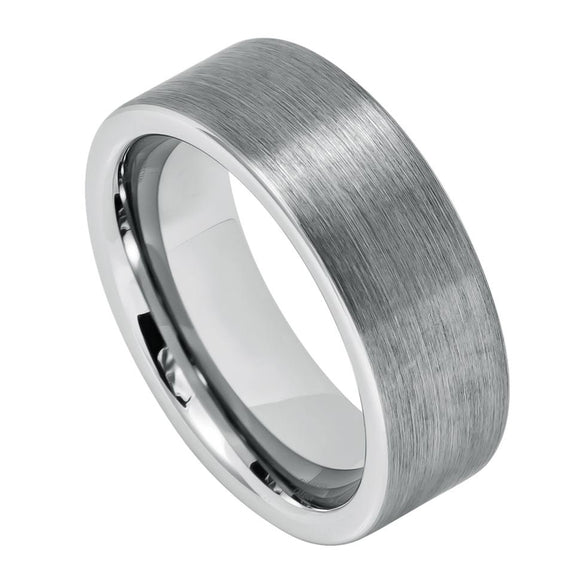 Tungsten 8mm Brushed Flat Cut Band
