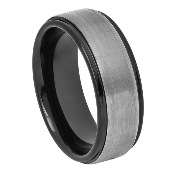 Tungsten 8mm Two Tone Black Ion Plated Brushed Center with Stepped Edges