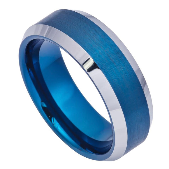 Tungsten 8mm Blue Ion Plated Brushed Center with High Polished Beveled Edges