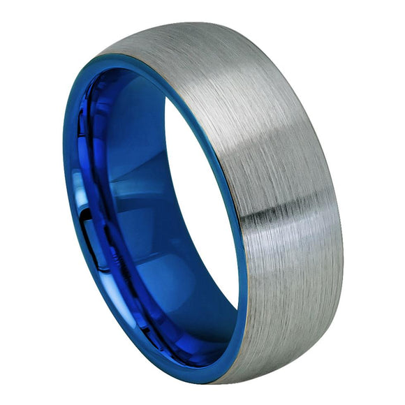 Tungsten 8mm Gunmetal and Blue Sleeve Wedding Band Ring