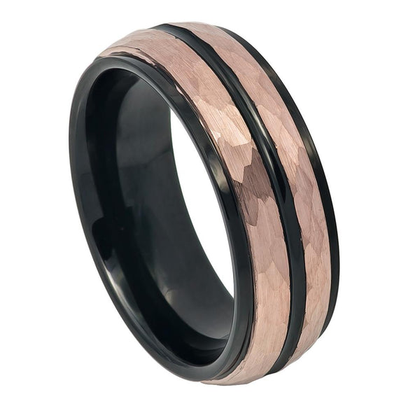 Tungsten 8mm Two Tone Hammered Rose Gold Ion Plated Finish with Black Ion Plated/Grooved Center and Stepped Edges