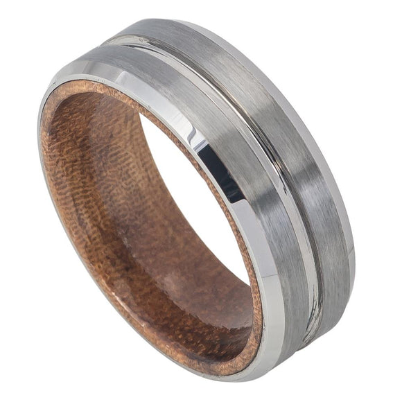 Tungsten 8mm Grooved Brushed Center and Beveled Edges.  African Sapele Mahogany Wood Sleeve