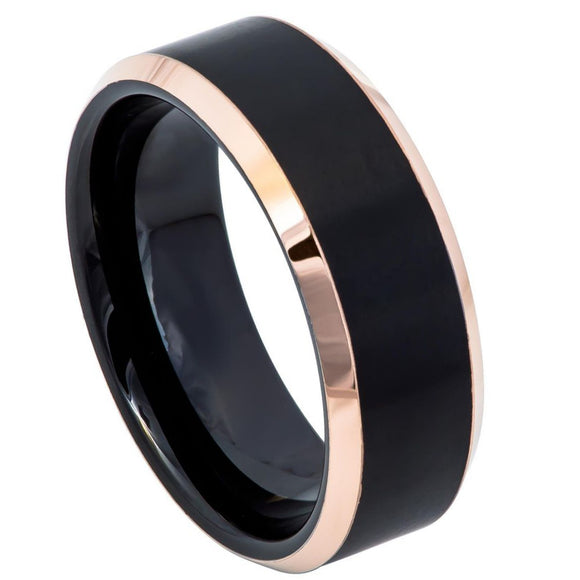 Tungsten 8mm Black Ion Plated Ring with Rose Gold Beveled Edges
