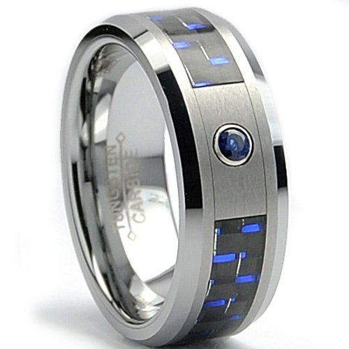 Blue Carbon Fiber Inlay Ring with Blue Sapphire Tungsten