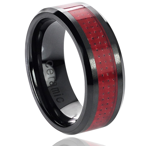 Black Beveled Ceramic 8mm Ring with Red Carbon Fiber Inlay