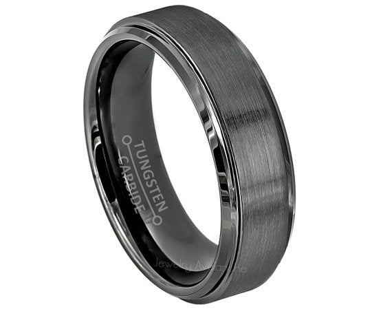6mm Gunmetal tungsten stepped edge brushed center ring